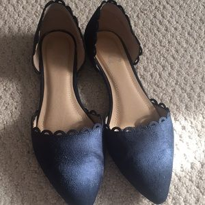 Navy faux suede flats